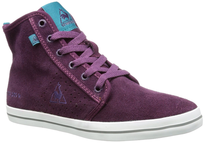 Dames sneakers van het merk le coq sportif in de kleur paars. de sneakers zijn gemaakt van leer en textiel. ...