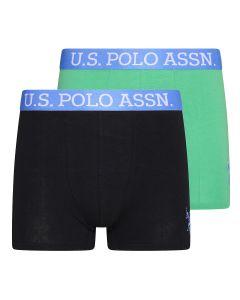 U.S. Polo Assn. 2-Pack Basic Boxers Zwart/Groen