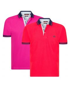 Pierre Cardin 2-Pack Navy Tipped Polo Fuchsia/Rood