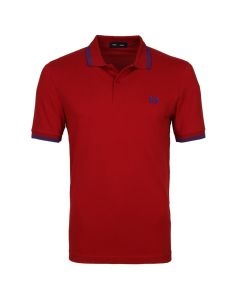 Fred Perry Twin Tipped Polo Deep Red/Cobalt