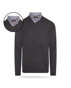 Pierre Cardin - Pullover met Overhemdkraag - Antraciet Grijs