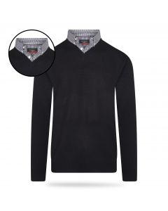Pierre Cardin - Pullover met Overhemdkraag - Zwart
