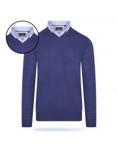 Pierre Cardin - Pullover met Overhemdkraag - Kobalt
