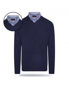 Pierre Cardin - Pullover met Overhemdkraag - Navy