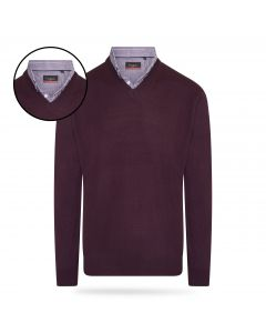 Pierre Cardin - Pullover met Overhemdkraag - Burgundy