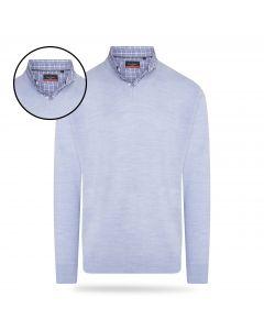 Pierre Cardin - Pullover met Overhemdkraag - Sky